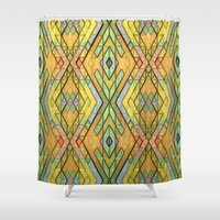 deco Shower Curtains featuring Deco Diamonds by Lyle Hatch