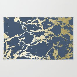 Kintsugi Ceramic Gold on Indigo Blue Rug