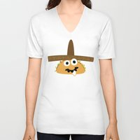 taco V-neck T-shirts featuring Senior Taco by Pig & Pumpkin
