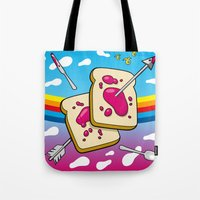 nirvana Tote Bags featuring Breakfast Nirvana by Kazze