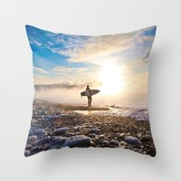 surfer Throw Pillows featuring Surfer by joshuaveldstra