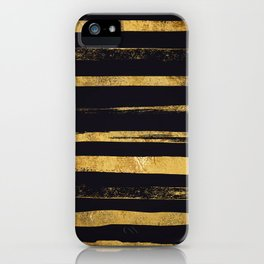 Glam Gold and Black Hand Painted Stripes iPhone Case