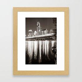 Austin Skyline Over Lady Bird Lake Reflections - Sepia Edition Framed Art Print