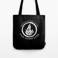 divergent Tote Bags featuring Divergent - The Dauntless by Lunil