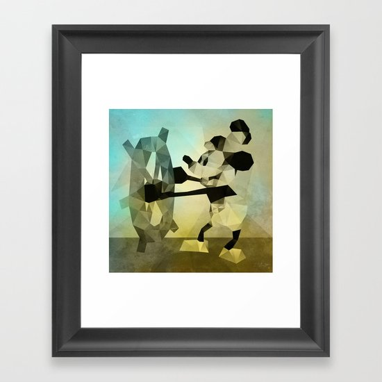Mickey Mouse as Steamboat Willie Framed Art Print