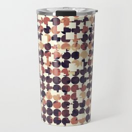 geometric square and circle pattern abstract in brown Travel Mug