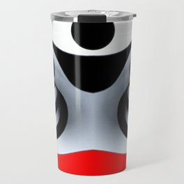 Black White and Red Geometric Abstract Travel Mug