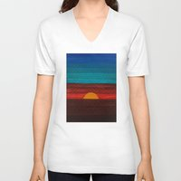 sunset V-neck T-shirts featuring Sunset by sinonelineman