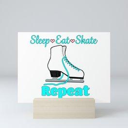 Sleep-Eat-Skate-Repeat in Turquoise Mini Art Print