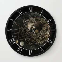 Forgotten nest with eggs Wall Clock