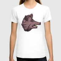 burgundy T-shirts featuring Burgundy Boar by peter glanting