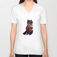 batgirl V-neck T-shirts featuring Batgirl by Luján Fernández