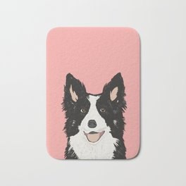 Border Collie pet portrait pink background dog lover art gifts Bath Mat