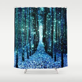 Magical Forest Teal Turquoise Shower Curtain