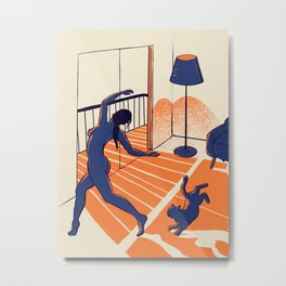 Dancing with the cat | Moody sunset light and shadows | Aesthetic room | Naked dance | Femme Fatale | Sunlight | Alone at Home Again | Balcony | Quarantine Pawfect Buddies Metal Print