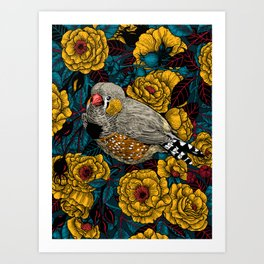 Zebra finch and rose bush Art Print