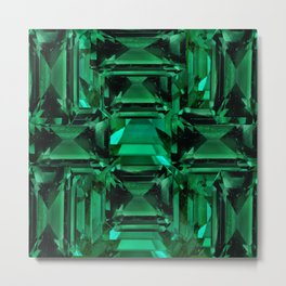 CLUSTERED FACETED EMERALD GREEN MAY GEMSTONES Metal Print