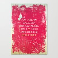 bible verses Canvas Prints featuring Typographic Motivational Bible Verses - John 1:17 by The Wooden Tree