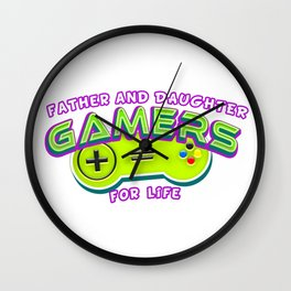 Father and Daughter Gamers For Life Wall Clock