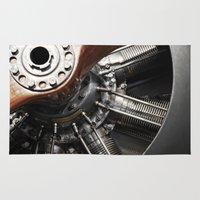 airplane Area & Throw Rugs featuring Airplane motor by Claude Gariepy