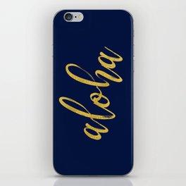 Aloha gold brush script on midnight navy blue glam summer design iPhone Skin
