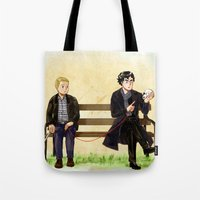 johnlock Tote Bags featuring Red String of Fate by Krusca