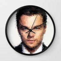 leonardo dicaprio Wall Clocks featuring Leonardo DiCaprio by lauramaahs