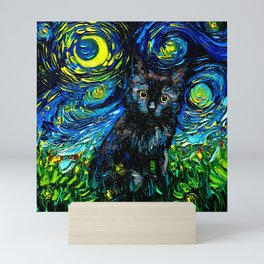 Black Cat Night 3 Mini Art Print