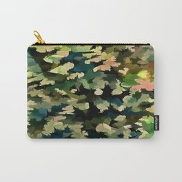 Foliage Abstract In Green, Peach and Phthalo Blue Carry-All Pouch