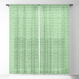 Green with White Squiggly Lines Sheer Curtain
