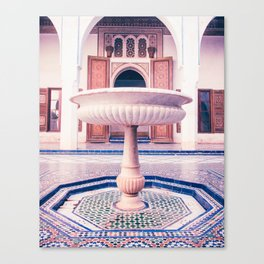Tiled Moroccan Fountain in a Courtyard Fine Art Print Canvas Print