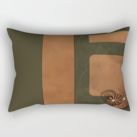 """A series of """"Covers for notebooks"""" . Brown and green leather. Rectangular Pillow"""