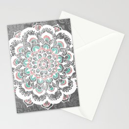 Pastel Floral Medallion on Faded Silver Wood Stationery Cards