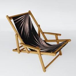 Rosegold Palm Tree Leaves on Midnight Black Sling Chair