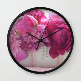 Romantic Paris Pink Peonies Prints and Home Decor Wall Clock