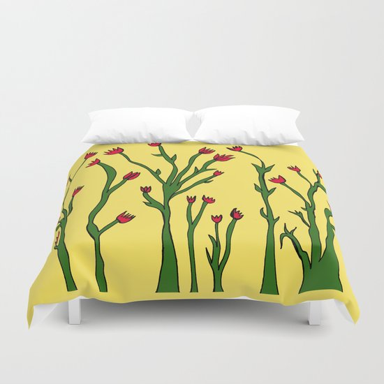 Long flowers Duvet Cover
