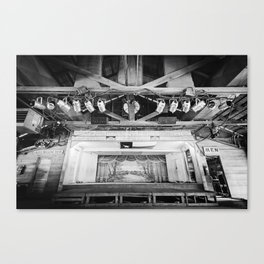 Gruene Hall stage (interior) - Oldest Dance Hall in Texas (B&W) Canvas Print