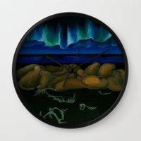 mythology Wall Clocks featuring Inuit Mythology: Chapter 1, part 10 by Estúdio Marte