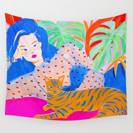 Relaxing with Cat Wall Tapestry