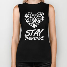 Stay Pawsitive Dog Paws Pet Owner Dog Lover Biker Tank