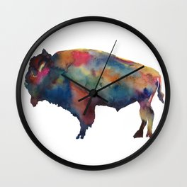 Watercolor Buffalo Bison Wall Clock