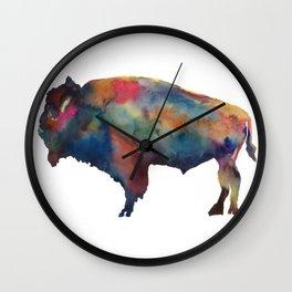 Watercolor Buffalo Bison Wall Clock
