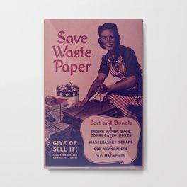 Vintage poster - Save Waste Paper Metal Print