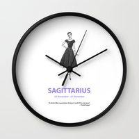 sagittarius Wall Clocks featuring Sagittarius by Cansu Girgin