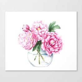 Pink Peony Painting, Watercolor Peony Art, Pink Flower Bouquet Canvas Print
