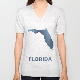 Florida map outline Dark blue clouded watercolor Unisex V-Neck