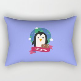 Penguin Globetrotter from Croatia T-Shirt Rectangular Pillow