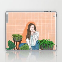 girl in peach with plants illustration painting Laptop & iPad Skin