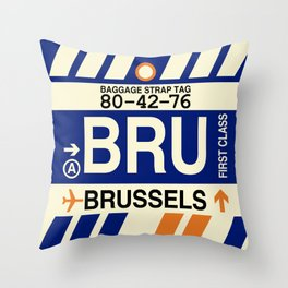 BRU Brussels • Airport Code and Vintage Baggage Tag Design Throw Pillow