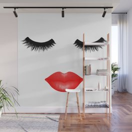 Lips and Lashes Wall Mural
